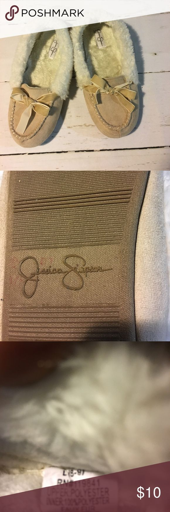 Jessica Simpson Slippers Tan and cream slippers by Jessica Simpson. Gently used Size 8/9 Jessica Simpson Shoes Slippers