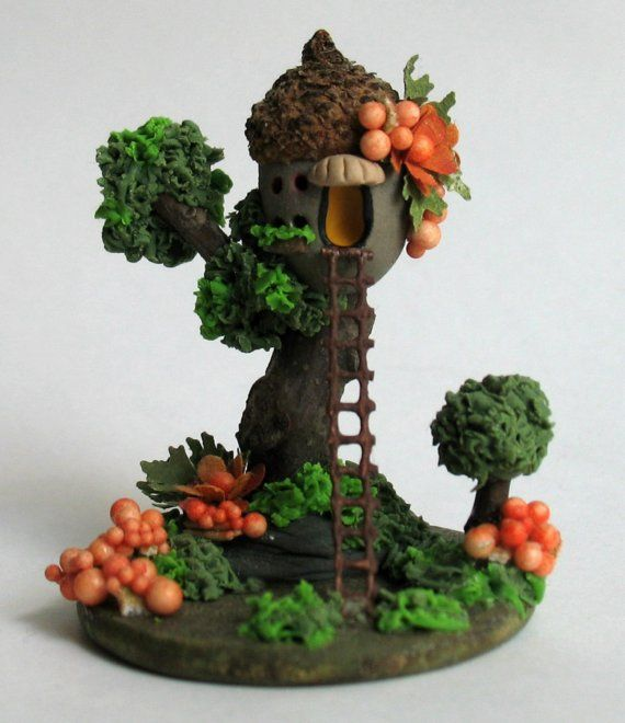 Ooak miniature fairy acorn tree house by artist c rohal for Acorn house designs