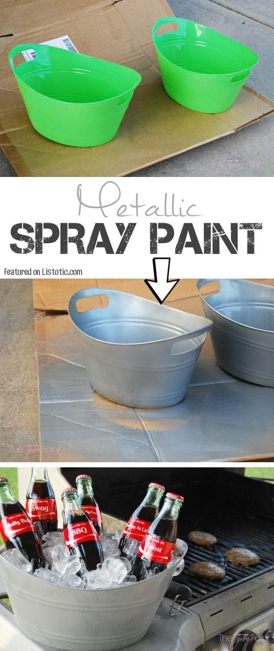 # 1.  Tome tinas de plástico de la tienda de dólar, y actualizarlos utilizando pintura en aerosol metálica para darles un acabado galvanizado!  - 29 Cool Paint aerosol Ideas que le ahorrará un montón de dinero