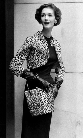 Pretty, but she broke the rule. Animal print rule is one piece only. Leopard Print, 1957