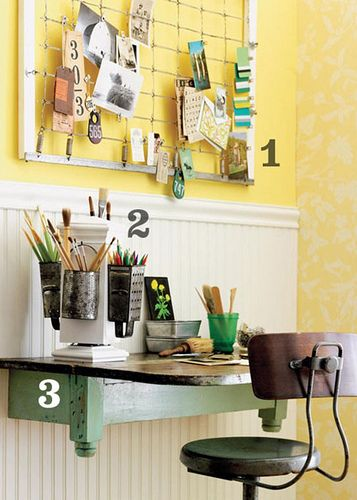upcycleBed Springs, Ideas, Offices Spaces, Bulletin Boards, Desks, Small Spaces, Beds Spring, Home Offices, Pencil Holders