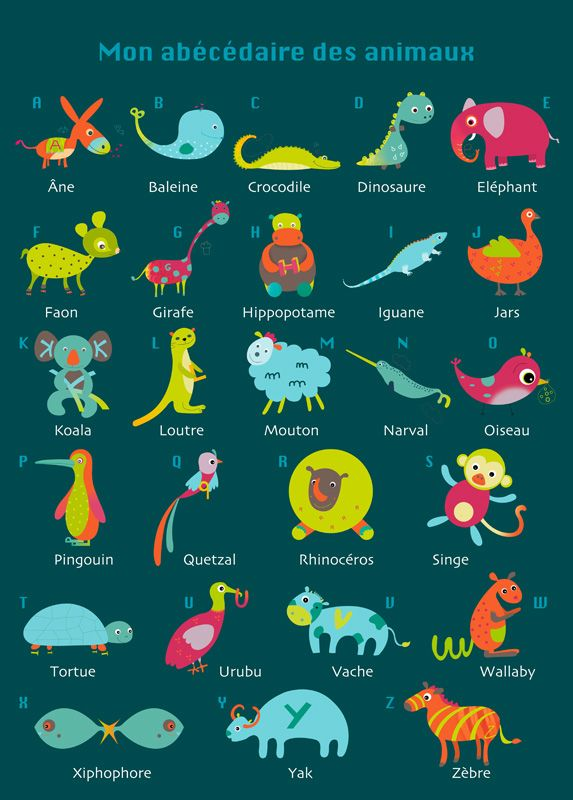 french animals alphabet poster.