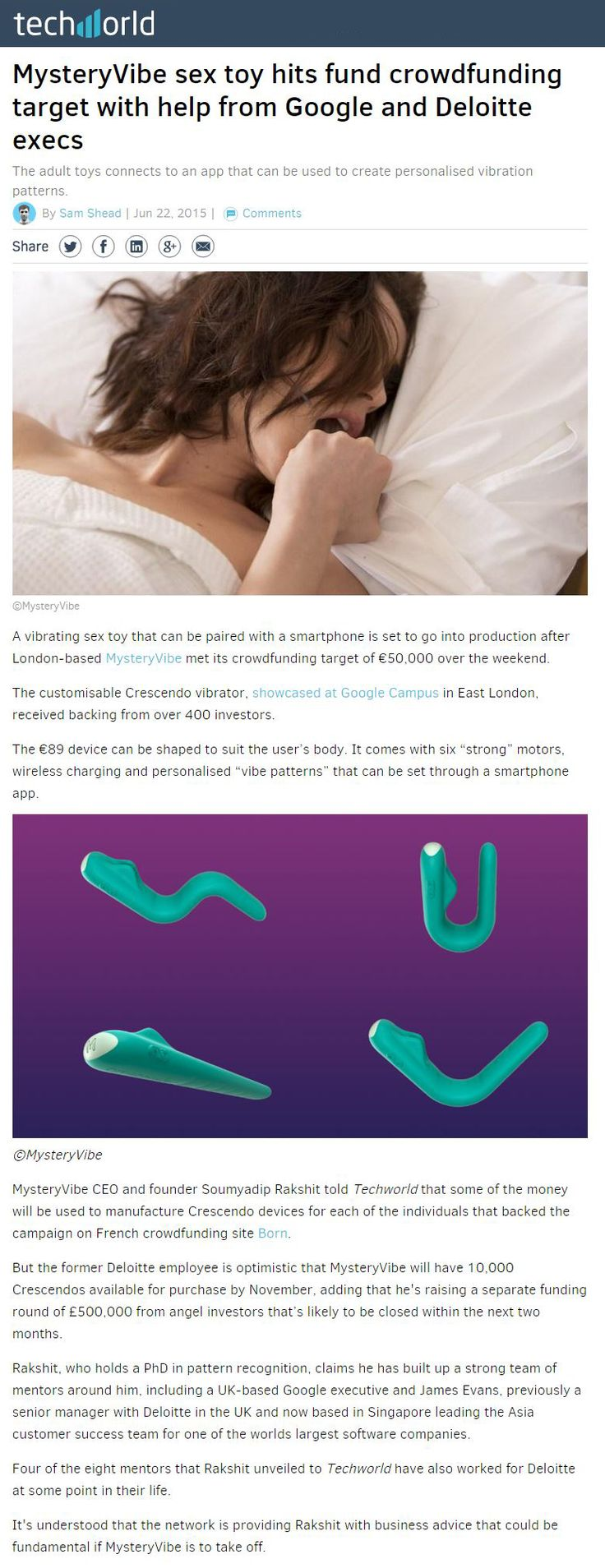 Techworld - MysteryVibe sex toy hits fund crowdfunding target with help  from Google and Deloitte execs (22 June 2015) | MysteryVibe in the News |  Pinterest ...