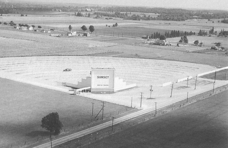 The Sunset Drive-In, near the corner of Eagle Street and Hespeler Road in (Preston) Cambridge, Ontario in 1948. This was when Hespeler Road was still just a road, and the mighty 401 didn't exist yet.