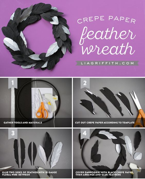 Crepe Paper Crow Feather Wreath - www.liagriffith.com #diyfalldecor #diyhalloween #diyholiday #diywreaths #crepepaperrevival #paperart #papercut #madewithlia