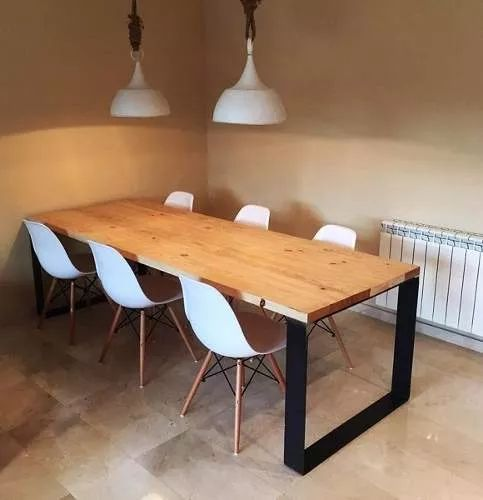 Mesa comedor industria madera y hierro 1 40 cocina for Mesas de comedor de madera de diseno