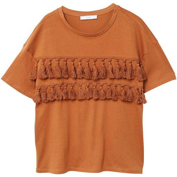 MANGO Pom pom cotton t-shirt ($36) ❤ liked on Polyvore featuring tops, t-shirts, burnt orange, pom pom tops, pom pom tee, orange tee, mango t shirt and cotton tees