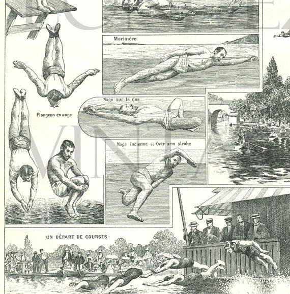 1908 Gravure ancienne natation plongeon sport page de dictionnaire français