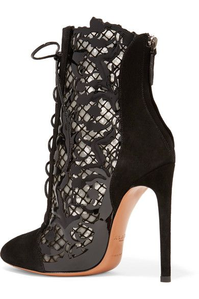 Alaïa - Laser-cut Suede And Patent-leather Ankle Boots - Black