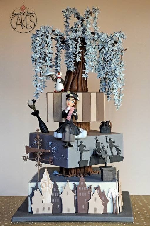 A Practically Perfect Mary Poppins Cake made by Cinzia D'Adamo Cakes.