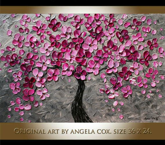 Original Modern Handpainted Acrylic Heavy  Impasto Textured  Plum Silver  Tree Painting. Made2 Order.