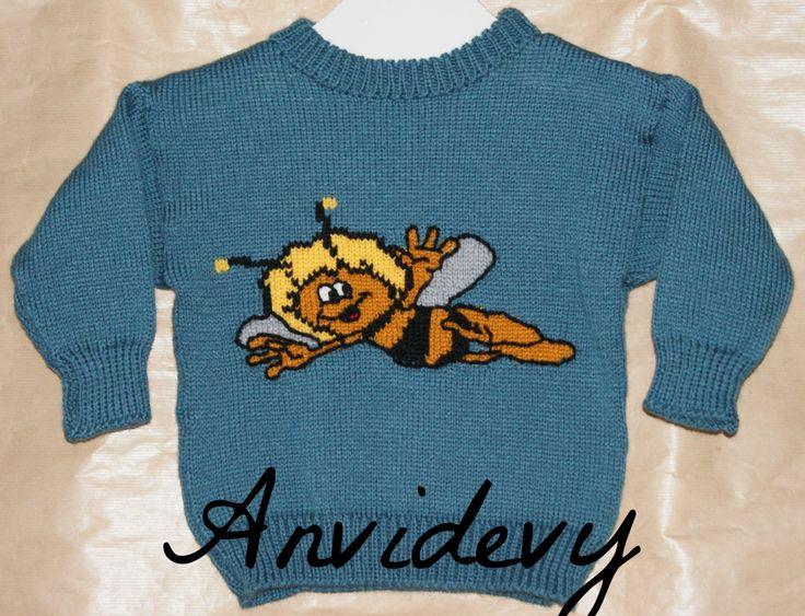 Pull enfant motif maya l'abeille, 2 ans, exemplaire unique. de la boutique Anvidevy sur Etsy