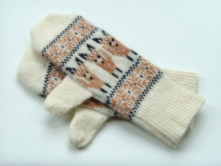 Fox Mittens Fox Mittens in Lambswool Wool Fox Motif Mittens… In Stock • $46  by ArticleApparel on Etsy