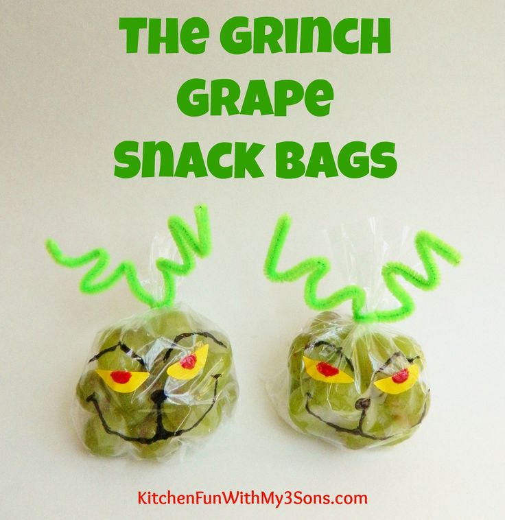 We Came Up With Some Fun Christmas Snack Bag Ideas For My 4 Year Olds Preschool Class Including The Grinch Grape Bags Boys Thought These Were So
