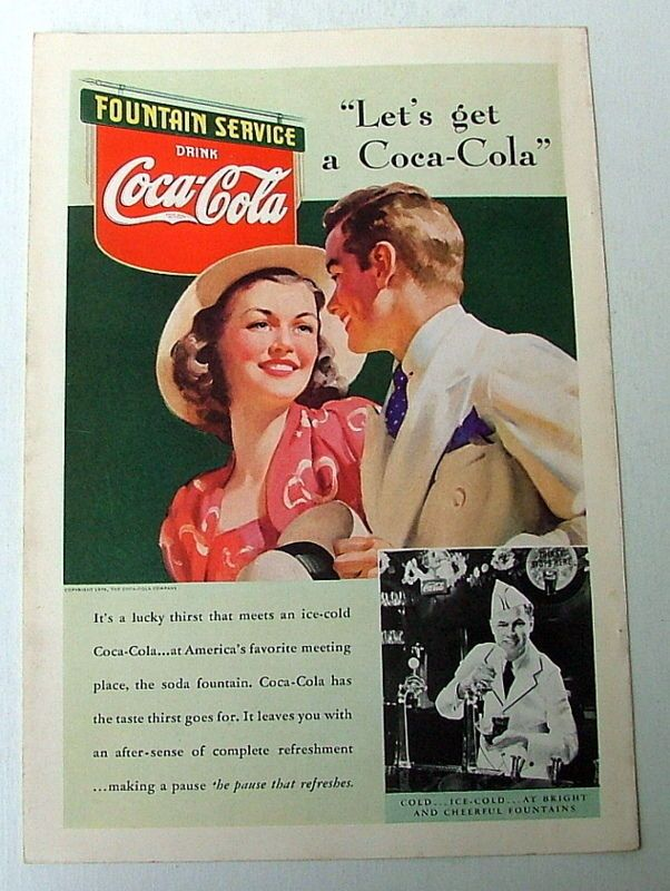 1939 COKE COLA AD YOUNG MAN & WOMAN UNDER COKE FOUNTAIN SERVICE SIGN