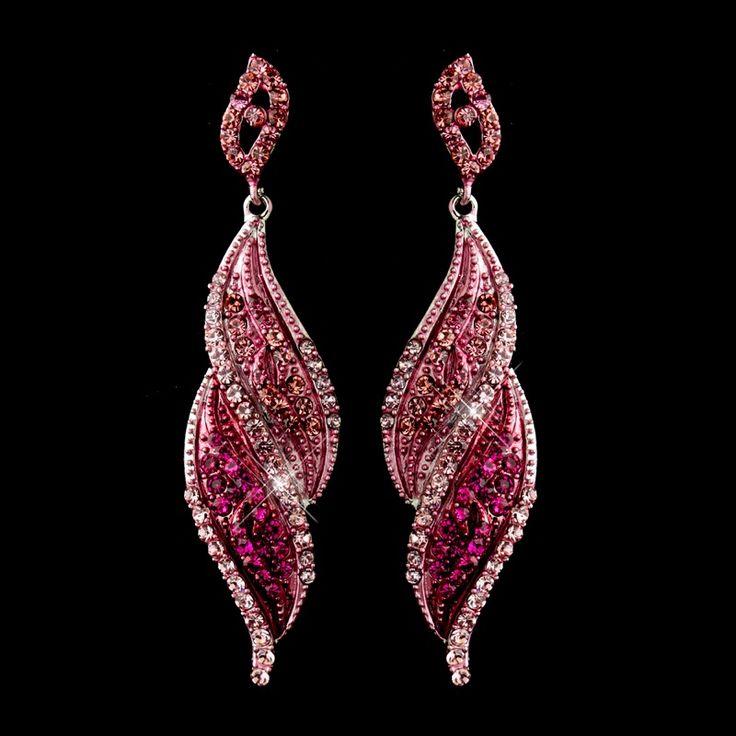 Pink Rhinestone Dangle Bridal Earrings $48.00