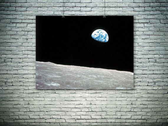 Earthrise 1969.Photograph of the Earth and parts by PasteUpStore