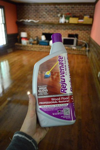 Rejuvenate Wood Floor Professional Restorer to shine up old, scratched wood floors - seals and protects, restores luster,fills in small scratches, no waxy build-up. Puts down a new urethane coating without buildup. Use with Rejuvenate Cleaner first and use the microfiber applicator.  Lasts only a couple months