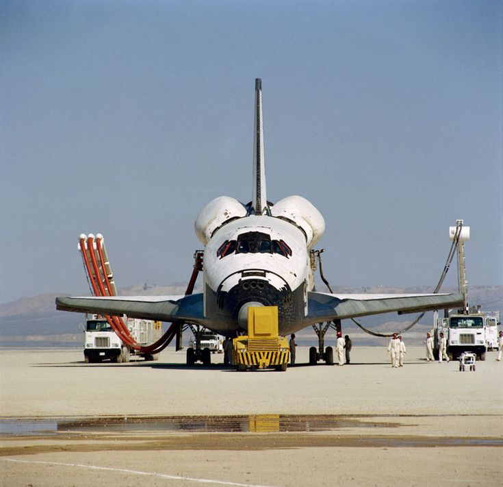 This head-on photograph of NASA's space shuttle Columbia was taken during post-landing servicing on Rogers dry lake bed at Edwards Air Force Base in southern California. The STS-1 mission ended earlier today, two and one third days later and thousands of miles removed from Sunday's Florida launch setting. Astronauts John W. Young, commander, and Robert L. Crippen, pilot, were Columbia's first crew.