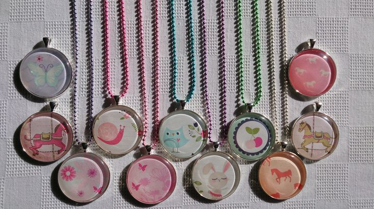 Girls 38mm glass dome necklaces. Choose your own colour chain! $12.00 each