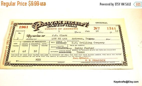Spring Cleaning Sale 1961 Poll Tax Receipt State of Texas