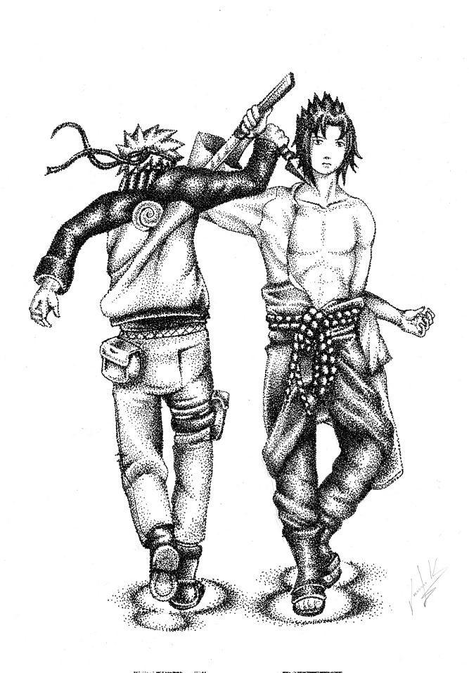 Naruto Vs Sasuke (Tecnica del Puntillismo) by juank91                                                                                                                                                      Más