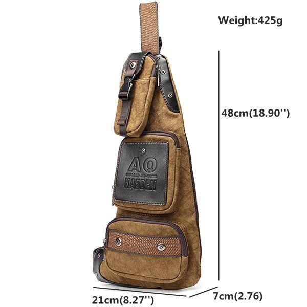 Men Vintage Casual Chest Bag Retro Shoulder Bag Leisure Crossbody Bag
