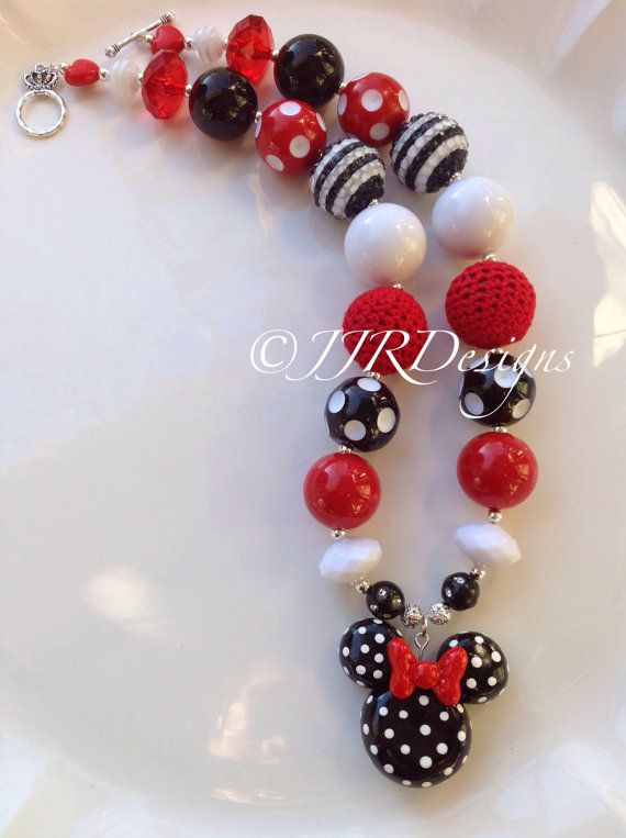 Minnie Mouse Inspired Girl Necklace-Red Minnie-Chunky-Bubble Gum Necklace- Pink Minnie Mouse- Green Minnir