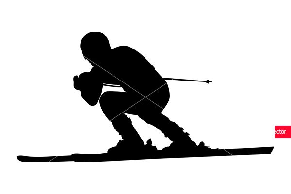alpine skiing male athlete downhill black silhouette