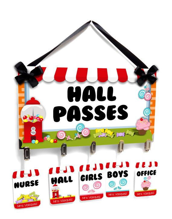 candy theme classroom hall passes sign  striped by kasefazem