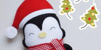 Pingüino navideño de fieltro