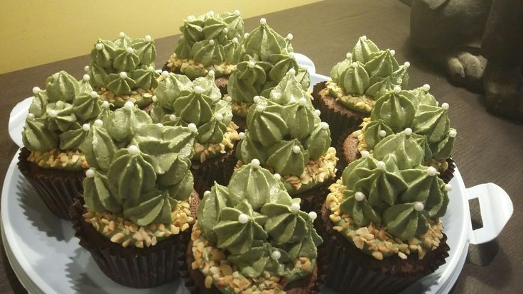 Cacti cupcakes, twix centre chocolate sponge with caramel centre by Danielle Smith ( Rockylicious Cakes )