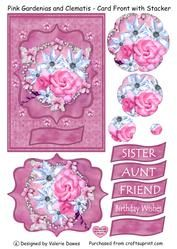Pink Gardenias With Clematis - Card Front With Stacker