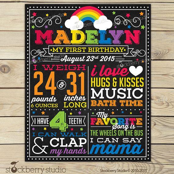 Rainbow Chalkboard Poster Printable - Girl 1st Birthday Photo Prop - Art Party First Birthday Party - Star Birthday - Red Yellow Orange Blue
