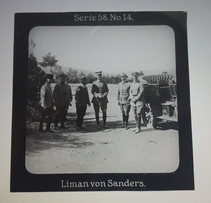 Turkey - GLASS SLIDE - Liman von Sanders with Ottoman Pachas - 8 x 9 cm