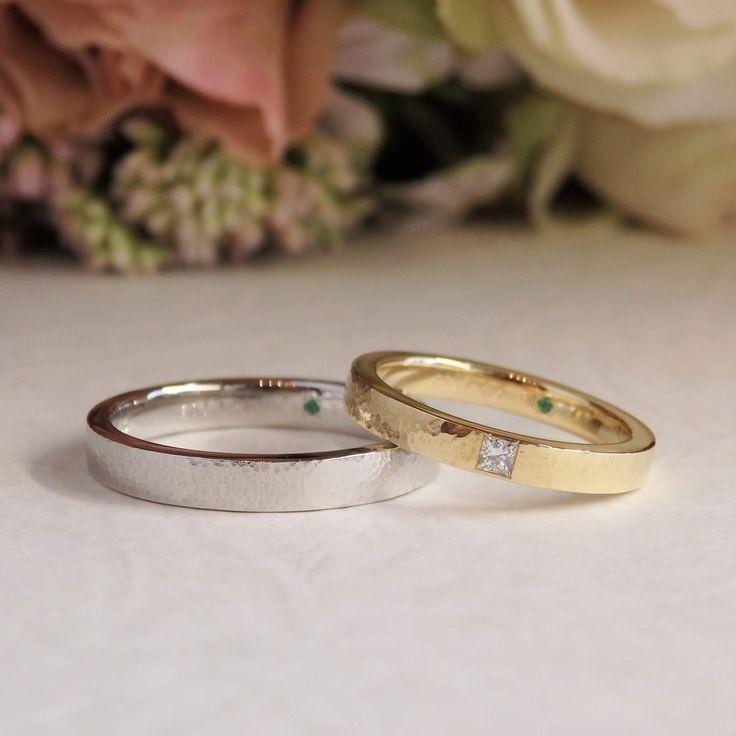秋のうろこ雲をモチーフにしたマリッジリング [marriage,wedding,ring,bridal,K18,Pt900,マリッジリング,結婚指輪,オーダーメイド,槌目,ウエディング,ith,イズマリッジ]