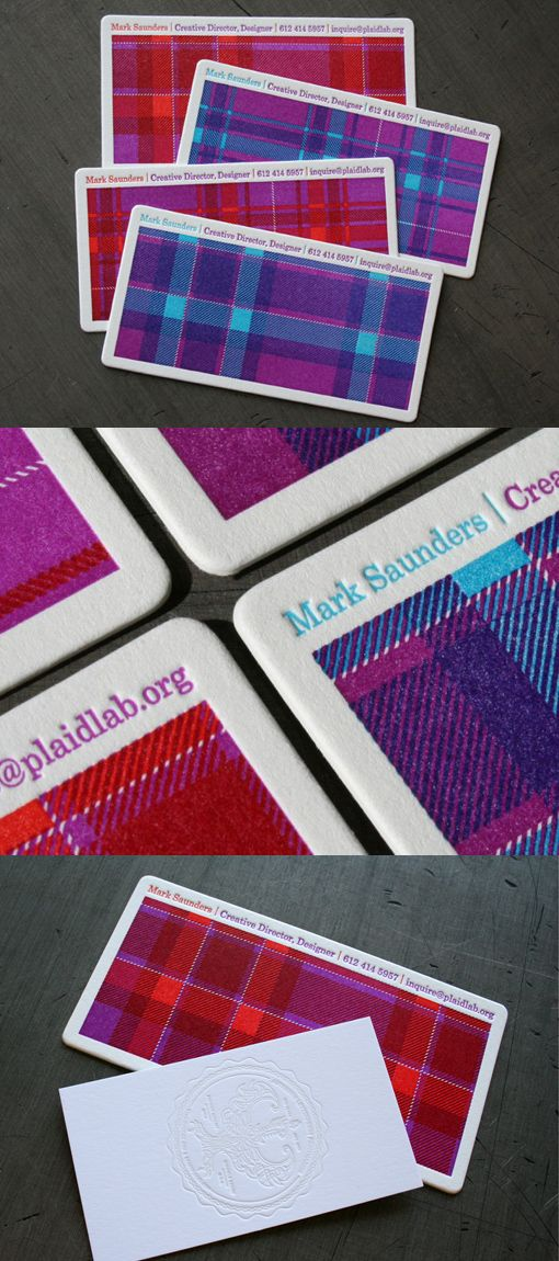Plaid Pattern Business Cards by PlaidLab - would be a cool treatment for tags, table numbers, etc?