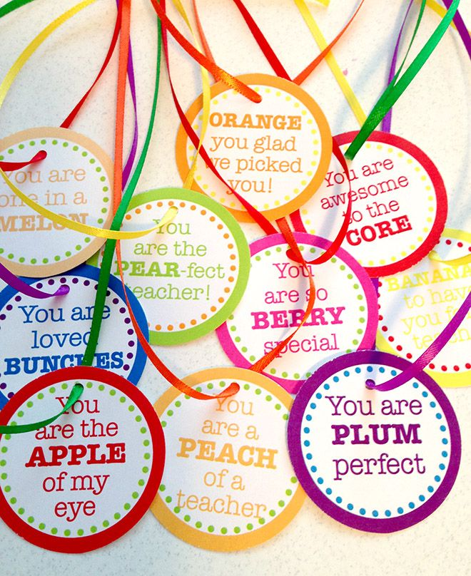 Teacher Appreciation Day FREE Printable Tags for fruit basket!
