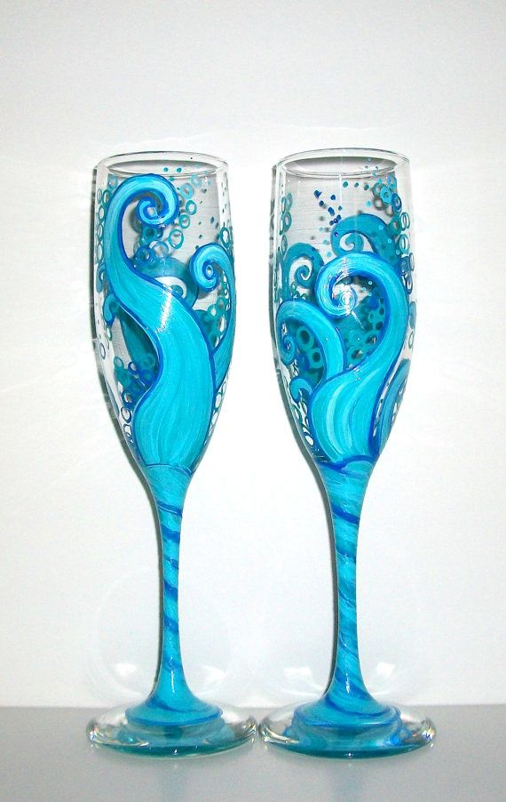 Ocean Blue Waves Hand Painted Champagne Flutes Set of 2 / 6 oz. Toasting Flutes, Ocean Wedding,Wedding,Anniversary