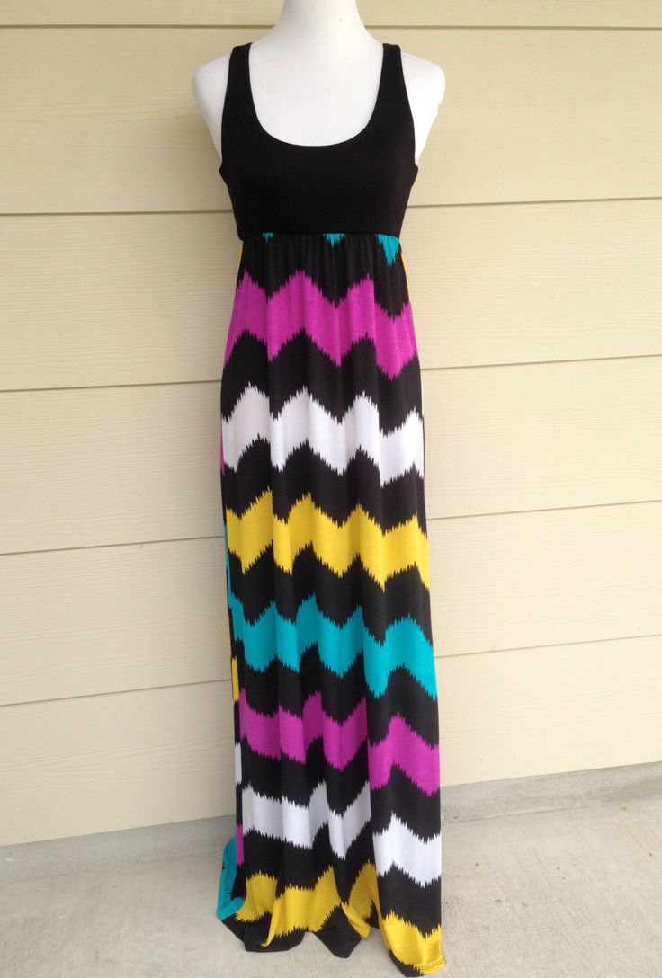 Womens maxi dress Chevron Maxi Dress Multi Color Chevron Sleeveless Dress Small by DecorPlace on Etsy https://www.etsy.com/listing/239769838/womens-maxi-dress-chevron-maxi-dress