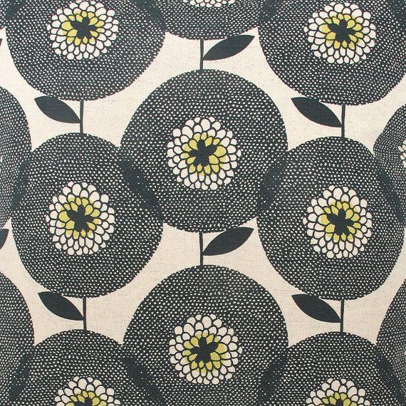 "Beautiful ""Flower Field, in Penny Black"" yardage, screen printed textile by Heather Moore / Skinny laMinx."