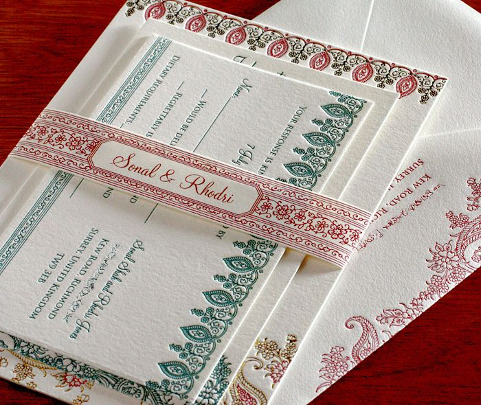 Elegant floral paisley wedding invitation set with matching monogrammed belly band and rsvp postcard.  | Invitations by Ajalon | invitationsbyajalon.com