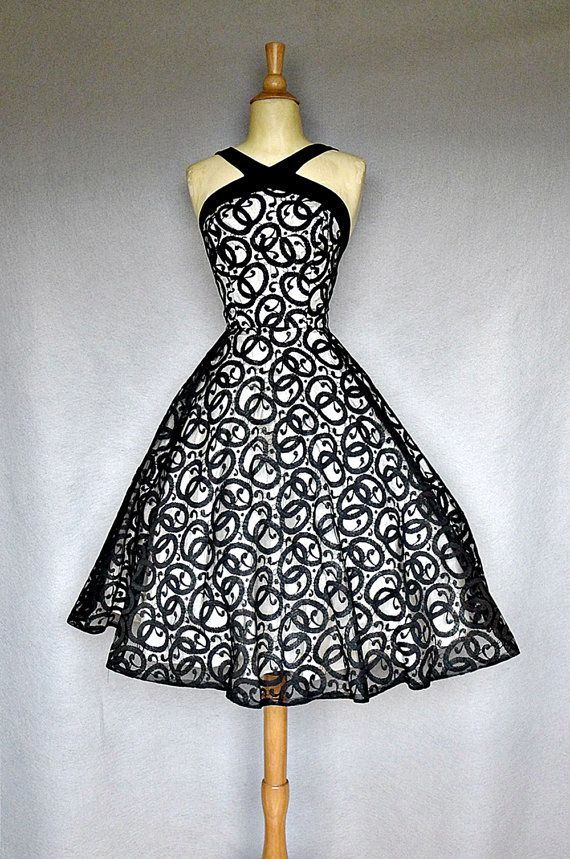 50s party dress / 1950s black illusion lace by bitterrootvintage, $225.00