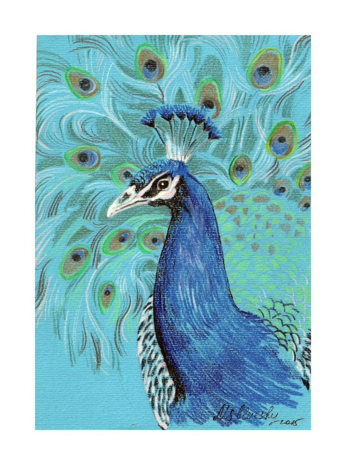 Peacock Painting - Home Decor - Original mixed media Painting 6x8 inches Bird wild nature by nekoBlueSKY on Etsy