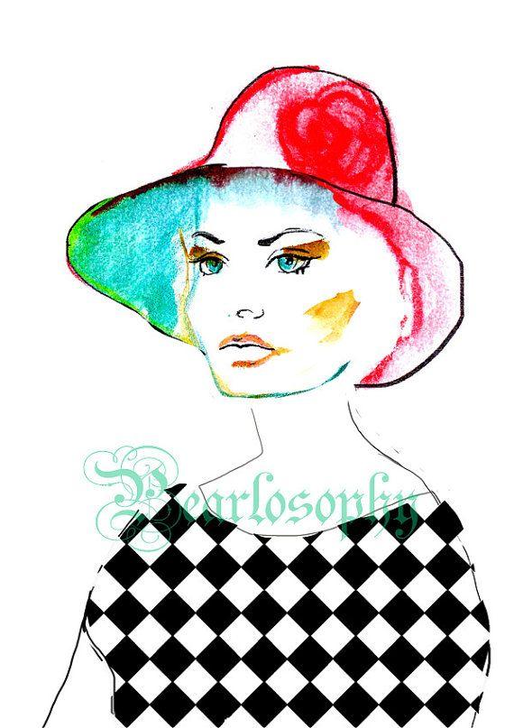Color Block  Fashion Illustration Print Digital by Pearlosophy