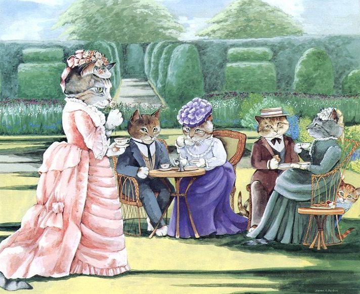 Victorian Cats, Susan Herbert,  Antique / Vintage Art Prints , Tea in the Garden, Print 1. $9.50, via Etsy.