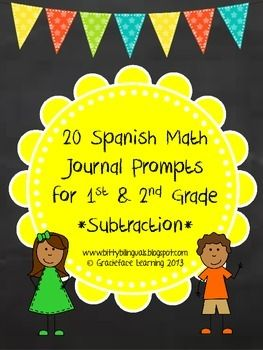Included in this product are 20 Spanish math journal prompts for subtraction. These can be a companion to your interactive math journal in your first or second grade bilingual classroom.  The students simply glue these prompts into their spiral notebooks and draw a picture to help them solve the problem.
