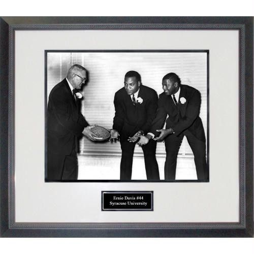Ernie Davis With Jim Brown in Suits Framed 16x20 Photograph