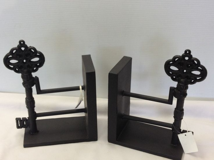 Wonderful key themed wrought iron bookends