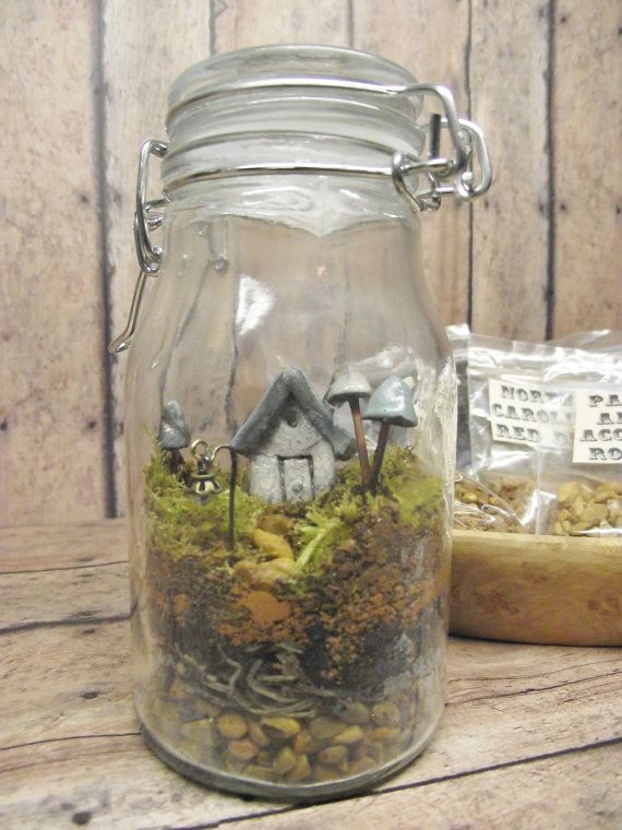 Terrarium Kit With Tiny House Glow in the Dark by GypsyRaku, $25.00 - terrarium in a jar, how cute! TONS of similar in various sizes (ear rings to huge!) at the etsy shop. Really nice!